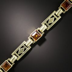 A quartet of golden amber colored square-cut citrines glisten and glow between striking geometric links in this late Art Deco wrist bauble dating from the Wonderful and wearable. Bijoux Art Nouveau, Art Nouveau Jewelry, Jewelry Art, Jewelry Design, Fashion Jewelry, Jewelry Accessories, Yoga Jewelry, Jewelry Crafts, Victorian Jewelry