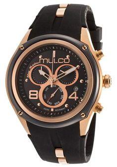 Mulco Blue Marine Black Dial Chronograph Black Rubber Ladies Watch