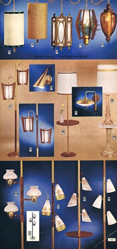 mid mod swag and tension pole lights Vintage Lamps, Vintage Lighting, Pole Lamps, Mid Century Modern Lighting, Good Old, Classic Style, Mid-century Modern, The Past, Old Things