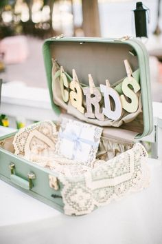 suitcase for cards and wedding gifts // photo by Raquel Sergio
