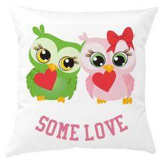 Twin Owl Love Cushion