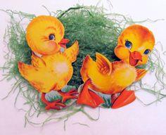 Mini Vintage Die Cut Set of 2 Easter Chicks Johnson by teresatudor