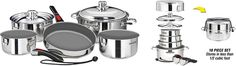 Efficient Kitchen - stack-able space saving cookware, Magma stainless steal ceramica* non-stick... Free up your cabinets