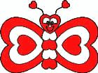 Heart Butterfly kid's craft. A cute butterfly made of completely of different sized hearts.
