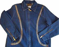 BOB MACKIE Zip Jean Denim Embroidered Jacket Womens M Stretch Cotton #BobMackie #JeanJacket