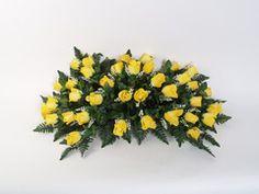 Yellow silk headstone spray arrangement