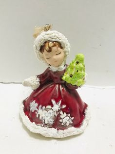 Vintage Ceramic Snow Angel Ornament Holding Tree Handmade Three Dimensional 70s #Unbranded #Christmas