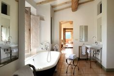 This beautiful rustic Italian villa is the perfect place to book a stay in Italy. It's located on the private areas of Castello di Reschio, run by Count Antonio Bolza as well as second generations of his family, in the lush…Read more › Mediterranean Bathroom, Italian Bathroom, Italian Tiles, Rustic Italian, Beautiful Interior Design, Beautiful Villas, Wet Rooms, Modern Rustic Interiors, Interior Architecture