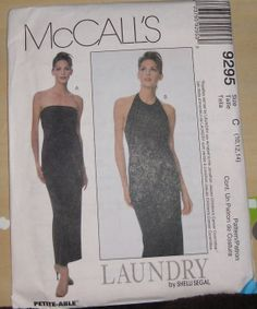 McCalls Pattern 9295 Column dress strapless or by KHess14265, $4.00