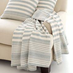 Dash & Albert Rugby Stripe Light Blue Throw Blanket