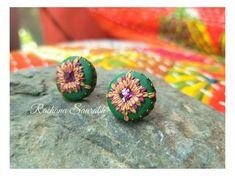 Handmade Crafts, Handmade Jewelry, Statement Earrings, Stud Earrings, Monthly Challenge, Kolam Rangoli, Golden Yellow Color, Kolam Designs, Embroidery Techniques