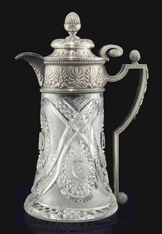 Silver-Mounted Cut-Glass Jug  Marked K. Fabergé with the Imperial warrant, Moscow, 1899-1908