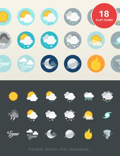 Lil Stories - Weather Icons. creativemarket.com/lilsquid/6687-Lil-Stories-Weather-Icons