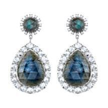 Irene Neuwirth Labradorite & Diamond Drop Earrings