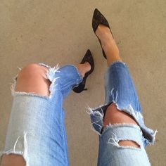 Denim + rips + lace #denim #lace #basics by tashsefton