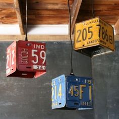 Old license plates turned into light fixtures...