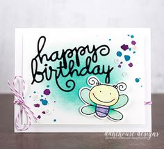 Card by SPARKS DT Lisa Arana PS stamp set: Giddy Bugs; PS dies: Happy Birthday Words