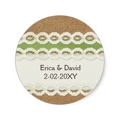 FAUX green lace and burlap , wedding seals Stickers
