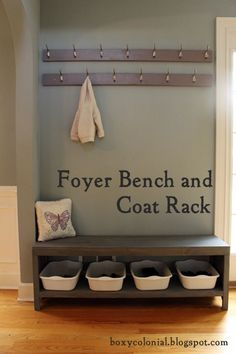 I especially like the personal shoe storage under the bench I hate the shoes all over the floor in our house currently. DIY Foyer Bench and Coat Rack.tutorial including cut list and plans for bench with shoe storage Bench With Shoe Storage, Built In Bench, Diy Storage, Closet Storage, Storage Ideas, Entryway Storage, Coat And Shoe Storage, Storage Bins, Entryway Coat Hooks
