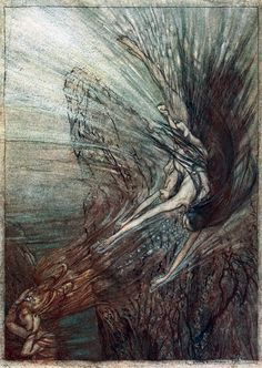Arthur Rackham: Rhinegold and the Valkyries (The frolic of the Rhine-Maidens), 1910