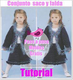Delicadezas en crochet Gabriela: Tutorial : Conjunto de Niña saco y falda