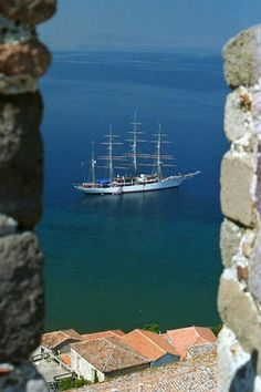 Looks like Dubrovnic? Albania, Bulgaria, Places Around The World, Around The Worlds, Beautiful World, Beautiful Places, Greek Isles, Greece Islands, Tall Ships