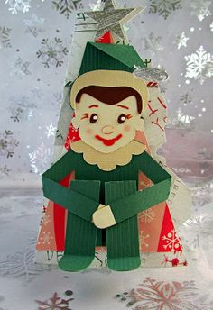 When it comes to kids, Santa's little helper always puts a smile on their face!  Chriss brightens up the day with the Elf Card from SANTA'S HELPFUL ELVES SVG KIT using it as an invitation to give to the kids next door!  Boy, won't they be surprised!   Such an animated looking little guy!  He's so cute and comical!