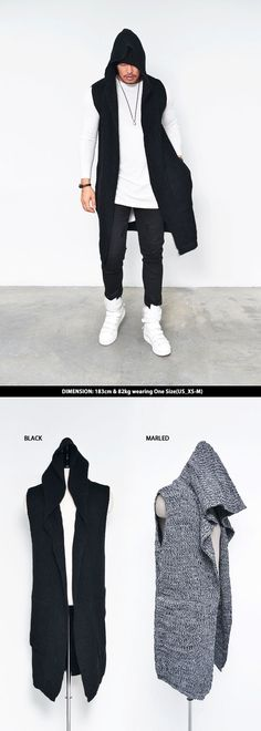 Tops :: Hoodies :: Chunky Knit Hooded Long Sleeveless Cardigan-Vest 109 - Mens Fashion Clothing For An Attractive Guy Look Casual Wear, Casual Outfits, Men Casual, Fashion Outfits, Fashion Moda, Urban Fashion, Mens Fashion, Style Masculin, Sleeveless Cardigan