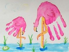 Flamingo handprint art! Just paint your hand pink and add the rest of the details (legs, water, beaks, etc). Cute!