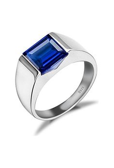 Jewelrypalace Men's 3.4ct Square Created Blue Sapphire 925 Sterling Silver Ring