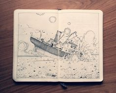Artist Illustrates Imaginative Black-And-White Moleskine Doodles - DesignTAXI.com
