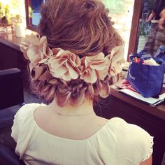 ブライダルヘア Dress Hairstyles, Cute Hairstyles, Wedding Hairstyles, Wedding Images, Wedding Styles, Hair Arrange, Hair Setting, Flower Crown Wedding, Headdress