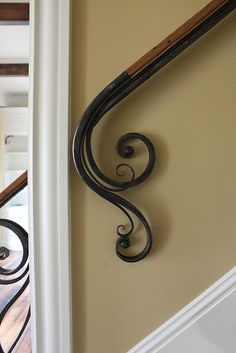 Steel & Wood Railing by Maynard Studios. I like this railing. Wrought Iron Stair Railing, Wall Railing, Stair Railing Design, Stair Handrail, Staircase Railings, Wrought Iron Decor, Banisters, Staircases, Staircase Remodel