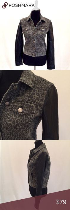 """Aqua Denim & Faux Leather Animal Print Jacket Trendy animal print gray Denim jacket with black Faux leather sleeves and front button closure. Shoulders 16"""", Bust 36"""", Length 20"""", Sleeve Length 23"""". Aqua Jackets & Coats Jean Jackets"""