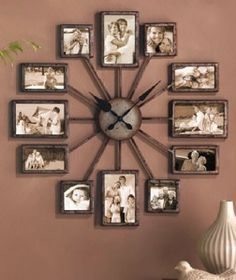 collage frame clock | ... Photo 12 Picture Photos Collage Wall Frame Clock 2' Diameter | eBay