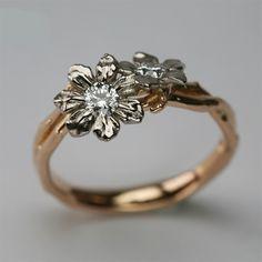 Stephen Einhorn Bespoke Fairtrade & Fairmined 18 Carat Rose Gold, White Gold & Canadian Diamonds Engagement Ring - Beautiful