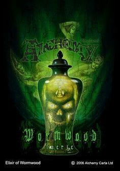 Elixir of Wormwood ~ Alchemy Gothic Gothic Artwork, Skull Artwork, Green Fairy Absinthe, Art Through The Ages, Alcohol Content, Mermaid Art, Dark Ages, Vintage Colors, Mixed Drinks