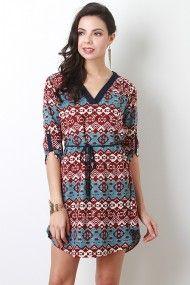 Mixed Print V-Neck Dress