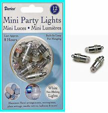 12 White Submersible LED MINI PARTY LIGHTS Centerpieces Floral Lanterns Balloons