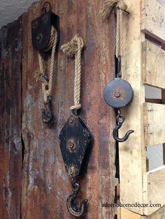 Block & Tackle Metal Rope Pulley Rust Antique Vintage Industrial Steampunk Decor in | eBay