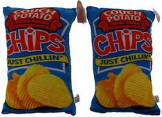 Lot 2 Couch Potato Chips Pillows Food Fight Throw Soft Realistic Plush Decor NEW