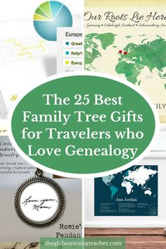 The 25 Best Family Tree Gifts for the Traveler who loves Genealogy- Are you looking for family tree gifts to help or celebrate a family historian's work? Do they also love to travel? This guide has helpful and unique ancestry gift ideas!