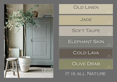 Walls done in antique cabinet in lacquer. Muren in en de… Deco Nature, All Nature, Paint Color Schemes, Style Deco, Interior Paint Colors, Color Pallets, House Painting, House Colors, Colorful Interiors