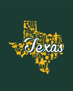 Baylor - Texas Landmark State - Green and Gold Texas Baylor Theme Art Print by Painted Post   Society6