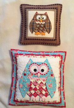 Patchwork /quilting applique pretty owl cushions sewing pattern & PATCHWORK / QUILTING APPLIQUE OWL DOORSTOP DOOR HANGER \u0026 KEY FOB ... pillowsntoast.com