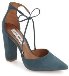 Women's Pamperd Lace-Up Pump. Slender laces tipped in gleaming hardware cinch up the d'Orsay silhouette of a pointy-toe pump cut from lush suede. A wrapped block heel lifts the vintage-inspired style.  Trendy chunky heal.  #fashion #style #shoes (affiliate)
