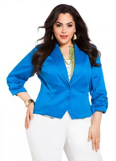 Ashley Stewart: Sateen Ruched Blazer