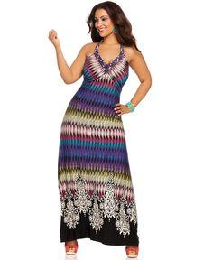 Spense Plus Size Dress, Sleeveless Printed Maxi - Plus Size Dresses - Plus Sizes - Macy's