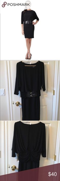 Adrianna Papell Dolman Blouson Wide Belt Dress Adrianna Papell Dolman Blouson Wide Belt Dress Never Worn Attached Belt Fully Lined Polyester/Spandex Black Size 8 Adrianna Papell Dresses