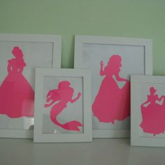 Disney Princess silhouette: googled image, printed it the size I wanted, traced outline in the window, printed on cardstock, cut it out and framed: total cost $10